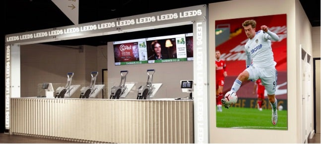 Inside an official Leeds United retail store